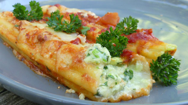 Lambs Quarters, Kale and Cheese Manicotti